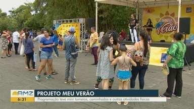 Projeto 'Meu Verão' incentiva a prática esportiva durante dia de atividades em Manaus - Programação teve mini torneios, caminhadas e outras atividades.