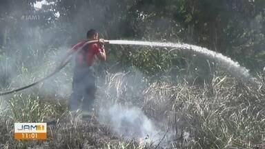 Em Itacoatiara, no AM, foco de incêndio é identificado - Equipe do Corpo de Bombeiros e voluntários participaram da ação para evitar que o fogo se alastrasse.