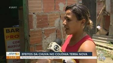 Moradores do Colônia Terra Nova relatam perdas durante chuva em Manaus - População ainda contabiliza prejuízos.