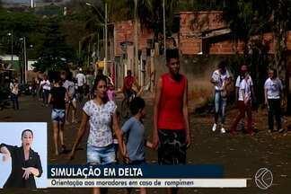 Moradores de Uberaba, Delta e Igarapava participam de simulado de evacuação - Treinamento ocorreu no último sábado (28) na região de usina hidrelétrica no Rio Grande, entre os três municípios. População deixou as casas para seguir até pontos de encontro.