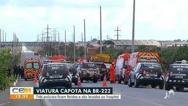 Viatura capota na BR-222 e três policiais ficam feridos - Saiba mais no g1.com.br/ce