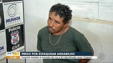 Homem é preso suspeito de esfaquear andarilho em Tangará da Serra (MT) - Homem é preso suspeito de esfaquear andarilho em Tangará da Serra (MT)