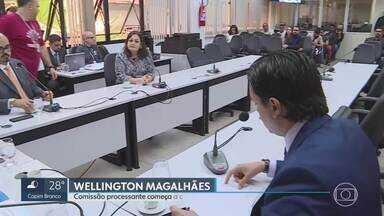 Wellington Magalhães: Câmara de BH começa a ouvir testemunhas em processo de cassação - A Comissão processante da Cãmara Municipal de BH começou a ouvir testemunhas no processo que investiga a quebra de decoro parlamentar do vereador Wellington Magalhães (DC).