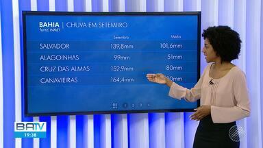 Confira a previsão do tempo para Salvador e interior do estado - Na parte leste da Bahia, setembro se despede com muita chuva.