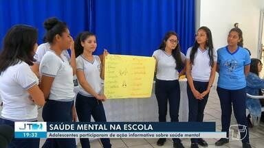 Alunos do ensino médio participam da primeira edição do projeto 'Saúde Mental na Escola' - O objetivo da ação é levar momentos de distração e de conversa aberta com os adolescentes sobre o tema.