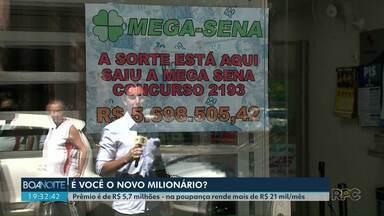 Moradores de Londrina querem saber: Quem ganhou na mega sena? - Morador da cidade ganhou mais de R$ 5 milhões durante último sorteio da loteria.
