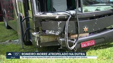 Romeiro morre atropelado na Via Dutra - Ele seguia para Aparecida pelo acostamento quando foi atropelado por um ônibus.