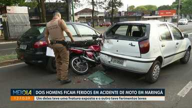 Duas pessoas ficam feridas em acidente de moto em Maringá - Um delas teve uma fratura exposta e a outra teve apenas ferimentos leves.
