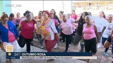 Caminhada de conscientização do 'Outubro Rosa' é realizada em Patos de Minas - Dezenas de mulheres fizeram alongamento e depois percorreram cerca de 15 km.