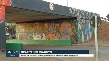 Rosto de ativista sueca pintado em viaduto será apagado em Sinop (MT) - Rosto de ativista sueca pintado em viaduto será apagado em Sinop (MT)