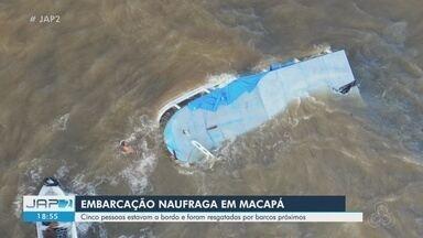 Barco naufraga com 5 pessoas na orla de Macapá; todas foram resgatadas com vida - Acidente aconteceu na tarde desta quarta-feira (2).