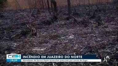 Moradores do bairro Horto acumulam prejuízos por causa do fogo - Confira mais notícias em g1.globo.com/ce