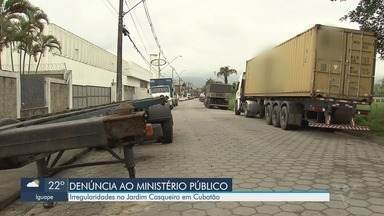Moradores do Jardim Casqueiro em Cubatão reclamam de falta de fiscalização no trânsito - Eles afirmam que caminhões que são proibidos de entrar no bairro circulam livremente.