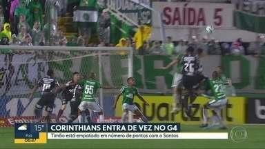 Corinthians está empatado com o Santos no Brasileirão - Timão venceu a Chapecoense por 1 a 0.