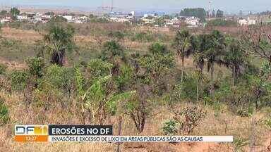 Erosões em parque de Samambaia preocupam moradores - Tem cratera perto de casas e pistas.