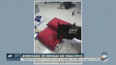 Receita Federal apreende 3,5 kg de cocaína no Aeroporto de Viracopos em Campinas - Droga foi encontrada nesta sexta-feira (4) nas bagagens de um brasileiro, de 21 anos, que seguia para Lisboa.