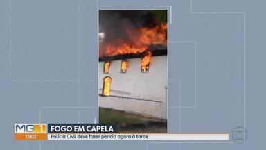 Igreja destruída por incêndio em Diamantina passa por perícia - Corpo de Bombeiros diz que há suspeita de curto-circuito. Não houve vítimas, porém igreja ficou em ruínas.