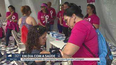 Mulheres participam do Outubro Rosa, em Contagem - Campanha traz a importância do diagnóstico precoce do câncer de mama.