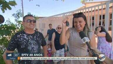 EPTV entrega carro sorteado no aniversário de 40 anos da emissora - Moradora do bairro São Bernardo foi a ganhadora em Campinas. Outros três carros foram sorteados em São Carlos, Ribeirão Preto e Virginha.