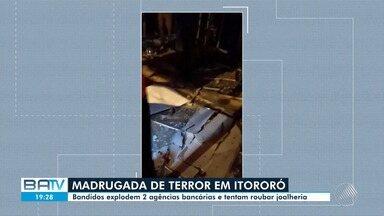 Polícia procura bandidos que explodiram bancos em Itororó, no sudoeste do estado - Os assaltantes também tentaram roubar uma joalheria e ainda queimaram dois carros.