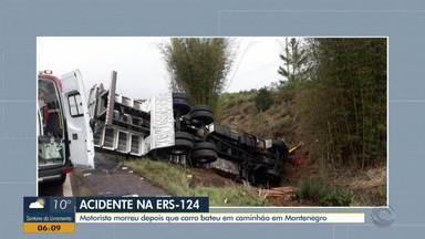 Acidente entre carro e um caminhão deixa uma vítima na tarde de domingo (6) - Motorista que estava no carro morreu na hora. Acidente aconteceu na ERS-124.