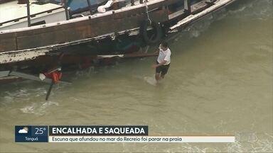 Escuna encalhada na praia do Recreio é saqueada - A escuna, de Salvador (BA), encalhou no mar do Recreio e foi parar na praia. Os tripulantes se salvaram; Nesta segunda (7). a embarcação foi saqueada.