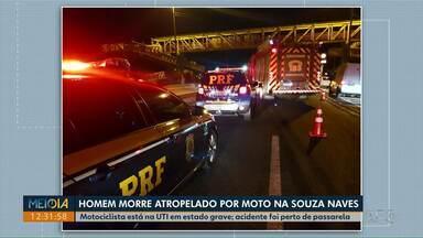 Homem morre atropelado por moto na avenida Souza Naves em Ponta Grossa - Pedestre atravessava a pista perto da passarela na entrada do Borato, o motociclista que conduzia a moto foi levado para o hospital, mas não resistiu.