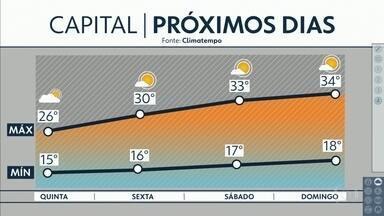 Terça e quarta-feiras terão predomínio de céu nublado, chuva e temperaturas baixas - Sol e calor voltam a partir de quinta-feira. Veja também a previsão para Aparecida.