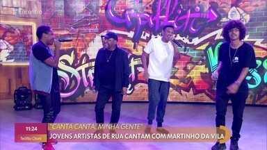 Martinho da Vila se apresenta com jovens artistas de rua - Mc Théo, Dejan e Mc Estudante cantam versão de 'Canta Canta, Minha Gente' ao lado de Martinho da Vila