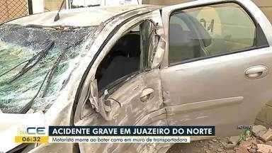 Motorista morre depois de bater carro em muro em Juazeiro do Norte - Saiba mais em g1.com.br/ce