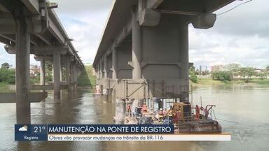 Obra de manutenção na Ponte de Registro provoca mudança de trânsito na Régis Bittencourt - Ponte fica sobre o Rio Ribeira de Iguape e tem quase 350 metros de comprimento.