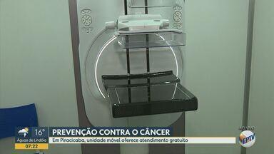 Unidade móvel em Piracicaba oferece atendimento gratuito para prevenção ao câncer de mama - Serviço começou nesta quinta-feira (10) e vai até último dia do mês (31).