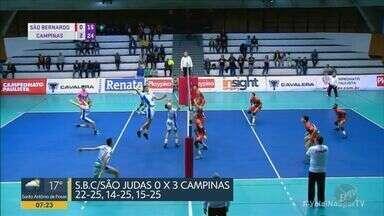 Vôlei de Campinas vence e fica a uma vitória da semifinal do Campeonato Estadual - Time venceu por 3 a 0 o São Bernardo.
