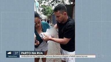 Ambulância demora a chegar e mulher tem bebê no meio da rua - Mãe e bebê foram levadas pra maternidade Leila Diniz e passam bem