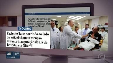 Foto do governo com paciente foi feita durante simulação - Direção do hospital disse que apresentação é uma das capacitações oferecidas aos funcionários