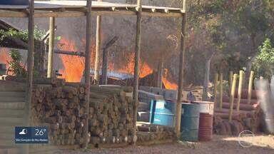 Fogos de artifício podem ter provocado incêndio perto de Lagoa Santa - Área de vegetação fica nos fundos de um depósito de materiais de construção na MG-10.