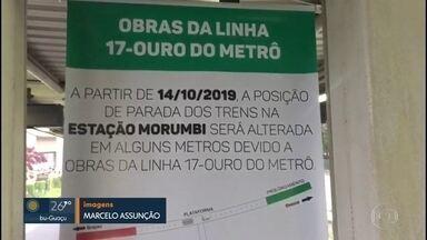 Parte da plataforma da estação Morumbi da CPTM está interditada - Parada dos trens foi alterada em alguns metros por causa de obras da linha 17-Ouro.