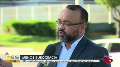 Menos burocracia: 315 atividades serão liberadas para funcionar sem alvará em Vitória - Entenda o que muda.