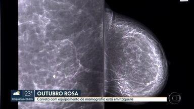 Carreta itinerante leva mamografia para 700 mulheres - Muitas delas reclamam da demora para marcar consultas e exames no SUS.