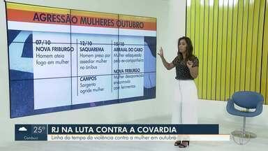 RJ1 e G1 compilam casos de agressão a mulheres registrados no interior do Rio neste mês - Casos foram registrados em Nova Friburgo, Saquarema, Campos dos Goytacazes e Arraial do Cabo.