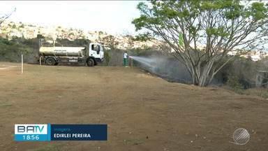 Matagal pega fogo ao lado de escola em Vitória da Conquista, sul do estado - O incêndio assustou estudantes e professores da instituição.