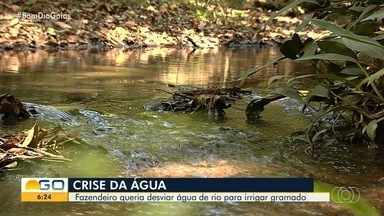 Polícia descobre fazenda com desvio irregular de rio em Bela Vista de Goiás - Havia um reservatório para cuidar do gado e regar gramado da propriedade.