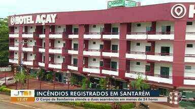 Dois incêndios são registrados em menos de 24h em Santarém - Incêndios aconteceram em Hotel, próximo ao viaduto, e outro no Residencial Salvação.