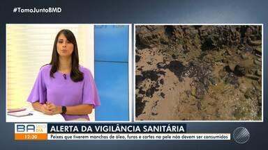 Vigilância Sanitária emite alerta sobre o consumo de peixes contaminados por óleo - A Bahia Pesca recomendou que marisqueiros e pescadores suspendam atividades por causa do problema causado pela substância.