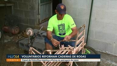 Voluntários reformam cadeiras de rodas para doação em Entre Rios - Uma atitude que ajuda muito quem precisa e não tem condições de comprar uma.