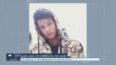 Turista de 17 anos desaparece no mar em Praia Grande - Lucas Barbosa Oliveira estava acompanhado da namorada e amigos, na praia do bairro Cidade Ocian.