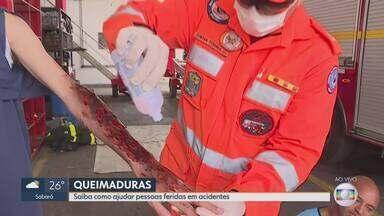 MG1: Saiba como ajudar pessoas feridas em acidentes - Militares do Corpo de Bombeiros mostram o que deve ser feito em situações de queimaduras.