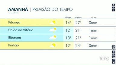Tempo continua firme nesta quarta-feira na região de Guarapuava - Temperatura pode chegar a 27°C em Pitanga.