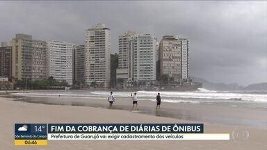 Tribunal determina o fim da cobrança de diárias de ônibus no Guarujá - Prefeitura vai exigir cadastramento dos veículos.