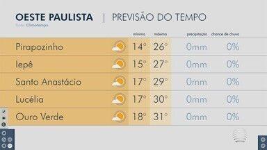 Sol predomina nesta quarta-feira na região de Presidente Prudente - Confira a previsão do tempo para algumas cidades.